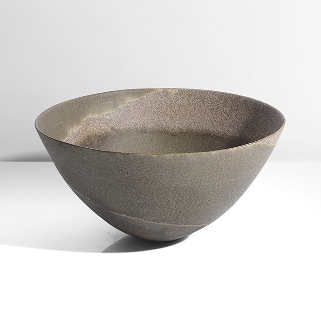 'Dark olive with sand grained spiral', large Bowl, 2002