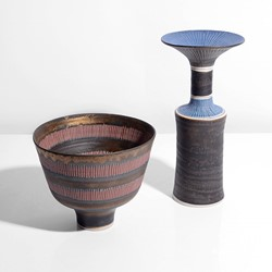 Lucie Rie | Straight Sided Bowl, 1970 & Vase with Flared Lip, circa 1978