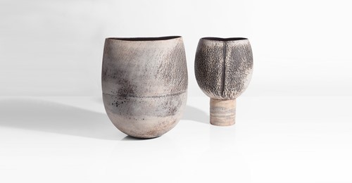 Hans Coper | Cup on Foot, circa 1972 & Squeezed Vase Form, 1972